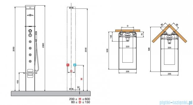 Novellini Aqua 1 Cascata 3 panel prysznicowy czarny bateria mechaniczna CASC3VM-H
