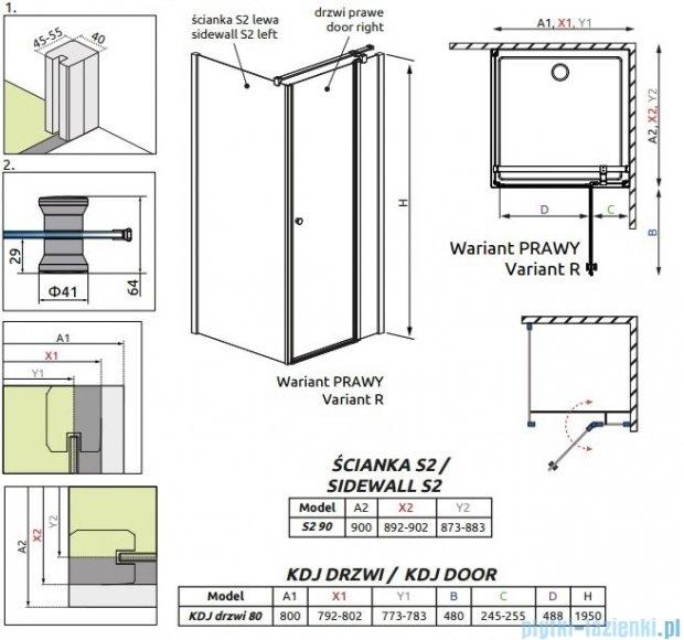 Radaway Eos II KDJ kabina prysznicowa 80x90 prawa szkło przejrzyste 3799420-01R/3799431-01L