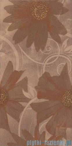 Paradyż Sabro brown kwiat inserto ścienne 29,5x59,5