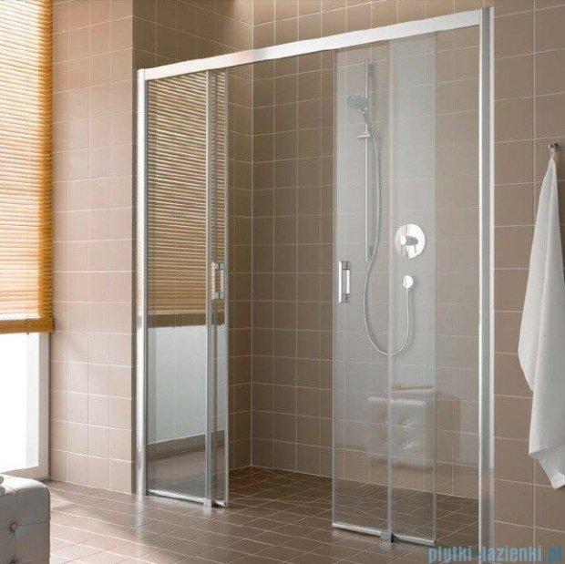 Kermi Atea Drzwi przesuwne bez progu, 4-częściowe, szkło przezroczyste, profile srebrne 130x185 ATD4B13018VAK