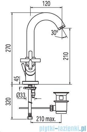 Tres Bimax-Tres Bateria umywalkowa bez korka automatycznego 1.63.103
