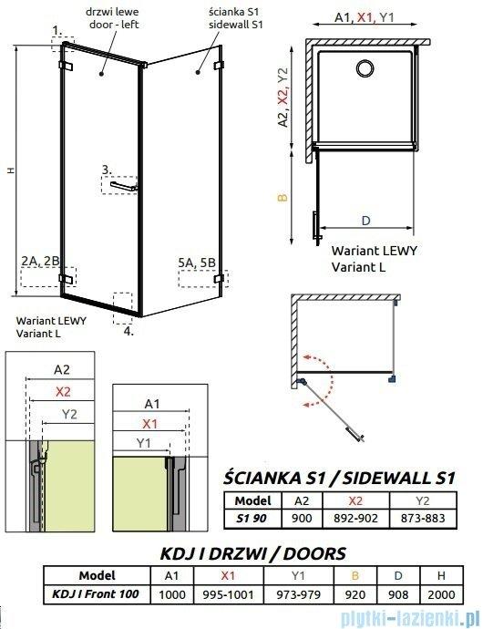 Radaway Arta Kdj I kabina 100x90cm lewa szkło przejrzyste 386083-03-01L/386021-03-01
