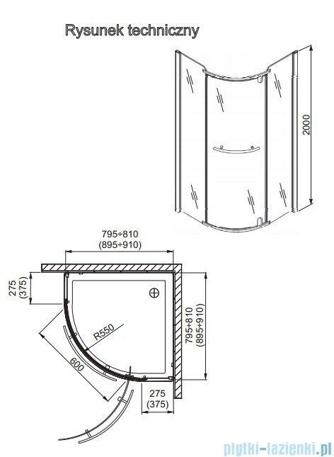 Aquaform Puenta Wind kabina półokrągła jednoskrzydłowa 90x90cm 100-06610