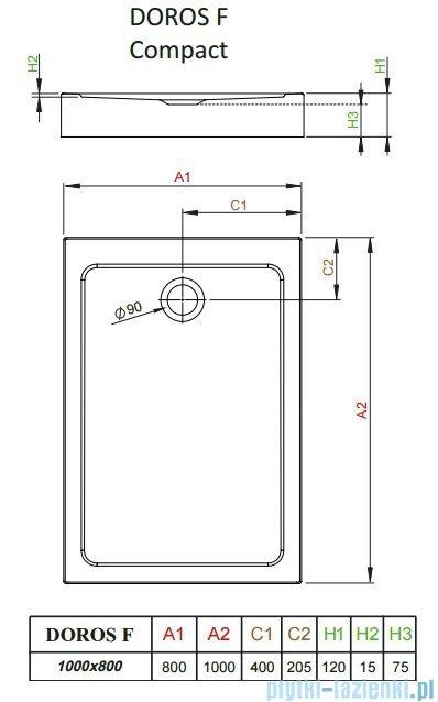 Radaway Doros F Compact brodzik prostokątny 100x80x12cm SDRFP1080-05