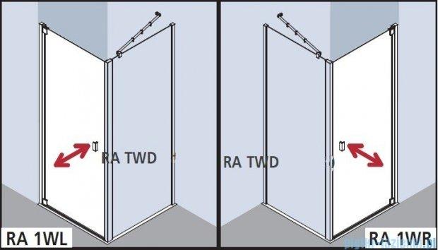 Kermi Raya Drzwi wahadłowe, 1-skrzydłowe, lewe, szkło przezroczyste, profile srebrne 100x200 RA1WL10020VAK