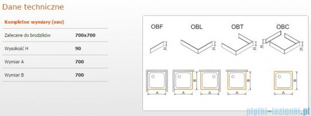 Sanplast Obudowa brodzika OBL 70x70x9 cm 625-400-1000-01-000