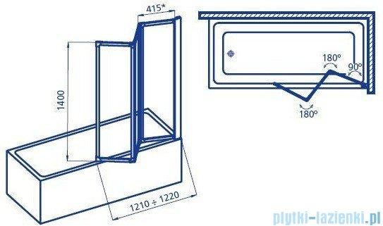 Aquaform Standard 3 Parawan nawannowy 121x140cm szyba polistyrenowa profil chrom mat 04000