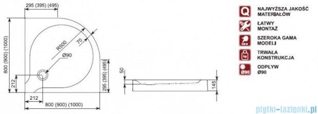 Aquaform Delta brodzik półokrągły płytki ze zintegrowaną obudową 100x100x14,5cm 06906