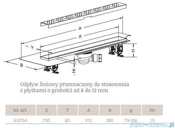 Radaway Quadro Odpływ liniowy 75x8cm 5L075A,5R075Q