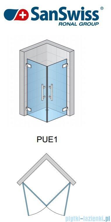 SanSwiss Pur PUE1 Wejście narożne 1-częściowe 40-100cm profil chrom szkło przejrzyste Lewe PUE1GSM11007