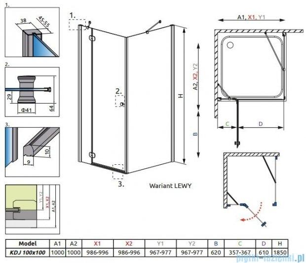 Radaway Torrenta Kdj Kabina prysznicowa 100x100 lewa szkło grafitowe 32444-01-05NL