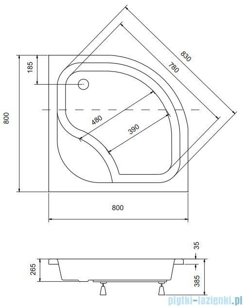 Sea Horse Sigma zestaw kabina natryskowa półokrągła - niska, 80x80 grafitowe + brodzik BKZ1/3/KG/