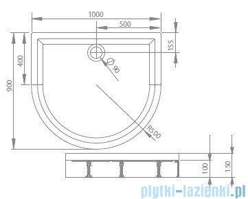 Radaway Brodzik półokrągły Delos P 100x90 z obudową 4Z19150-03N