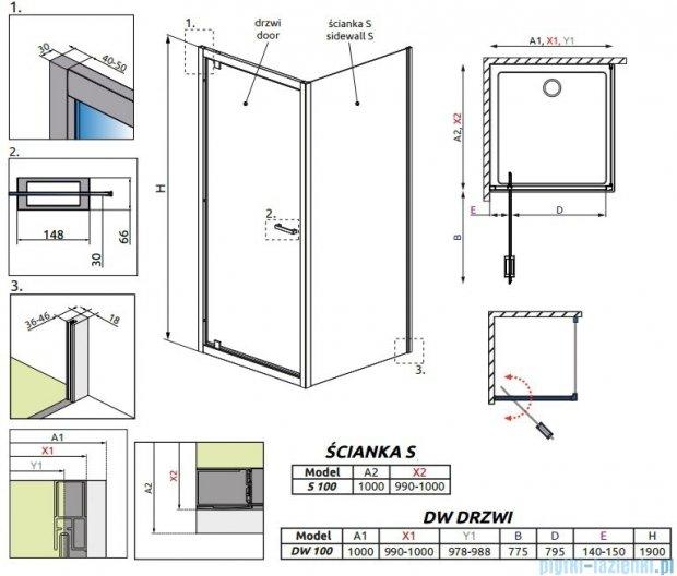 Radaway Twist DW+S Kabina prysznicowa 100x100 szkło przejrzyste 382003-01/382013-01