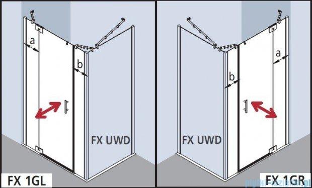 Kermi Filia Xp Drzwi wahadłowe 1-skrzydłowe z polami stałymi, prawe, przezroczyste KermiClean/ srebrne 110x200cm FX1GR11020VPK