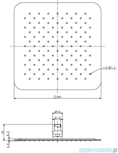 Omnires Ultra Slimline deszczownica ze stali nierdzewnej 30x30cm chrom WGU230