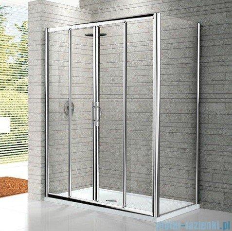 Novellini Drzwi prysznicowe przesuwne LUNES 2A 146 cm szkło przejrzyste profil chrom LUNES2A146-1K