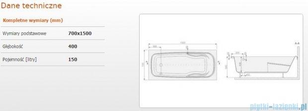 Sanplast Eko Plus wanna prostokątna WP/EKOPLUS 70x150+STW 610-131-0050-01-000