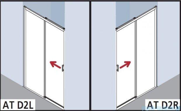 Kermi Atea Drzwi przesuwne bez progu, lewe, szkło przezroczyste KermiClean, profile białe 130x185 ATD2L130182PK
