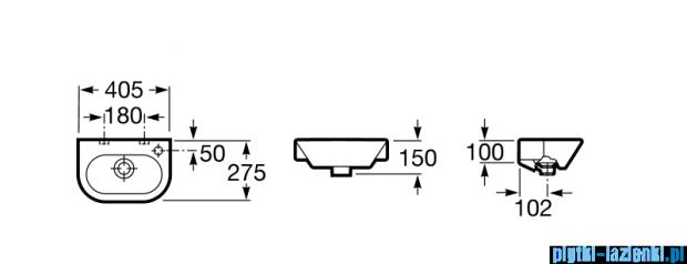Roca Nexo umywalka ścienna mała 40x27,5cm Maxi Clean A32764500M