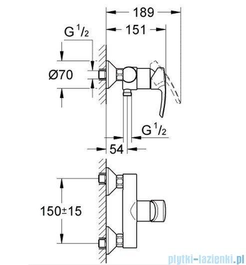 Grohe Eurostyle jednouchwytowa bateria prysznicowa 33590001