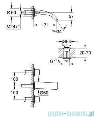 Grohe Ondus 3-otworowa bateria umywalkowa ścienna chrom 20152000