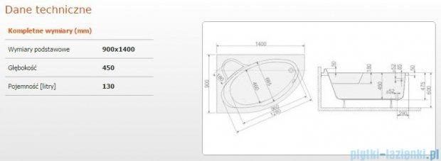 Sanplast Comfort Wanna asymetryczna lewa+stelaż WAL/CO 140x90+ST5 610-060-0140-01-000