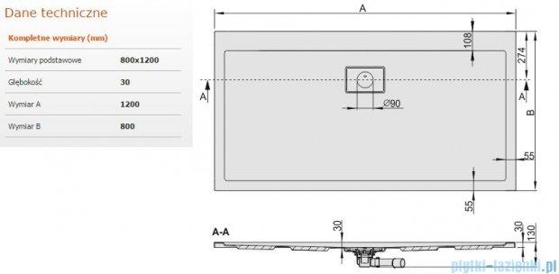 Sanplast Space Line brodzik prostokątny 120x80x3 cm + syfon 615-110-0240-01-000