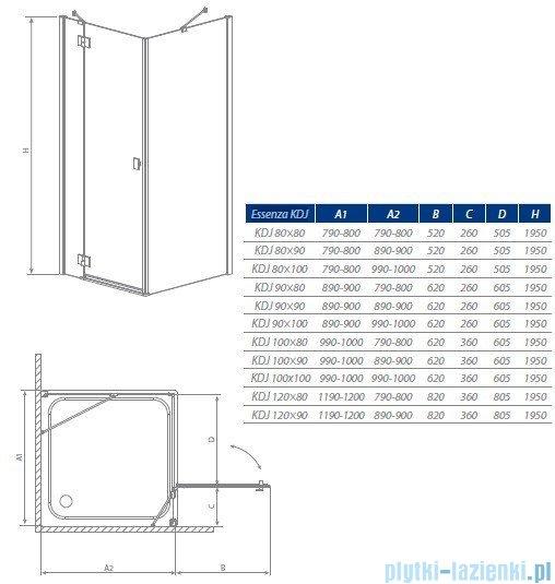 Radaway Kabina prysznicowa Essenza KDJ 90x80 prawa szkło przejrzyste 32847-01-01NR