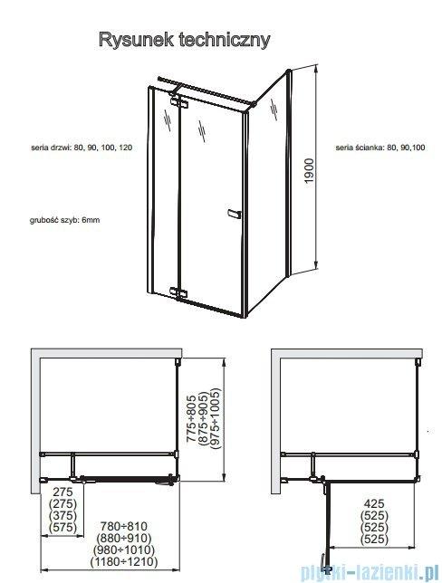 Aquaform Verra Line drzwi uchylne prawe 100cm przejrzyste 103-09336