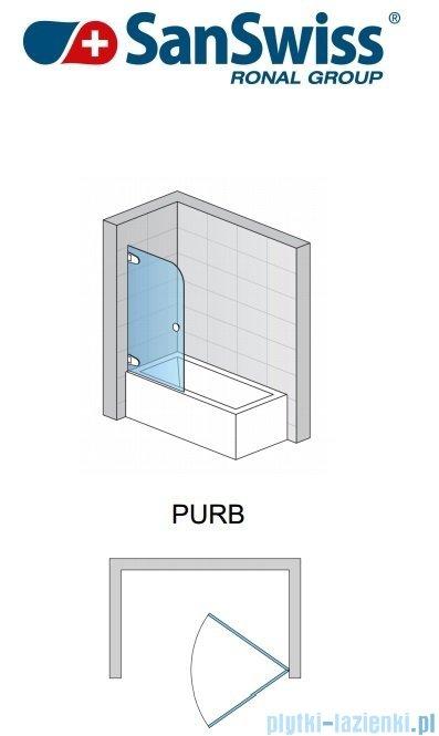 SanSwiss Pur PURB Parawan nawannowy 1-częściowy 75cm profil chrom szkło Master Carre Lewy PURBG07501030