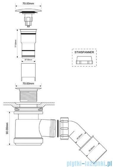 McAlpine Syfon brodzikowy 50'' pokrywa kolorze satyna HC26CLSC