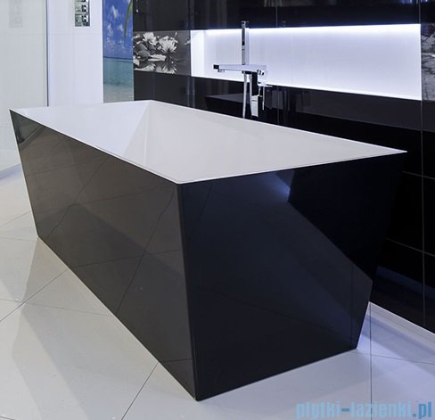 Omnires wanna 175x80cm wolnostojąca biało-czarny połysk MARBLE+LONDON175CP