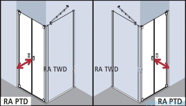 Kermi Raya Drzwi wahadłowe, 2-skrzydłowe, szkło przezroczyste, profile srebrne 75x200 RAPTD07520VAK