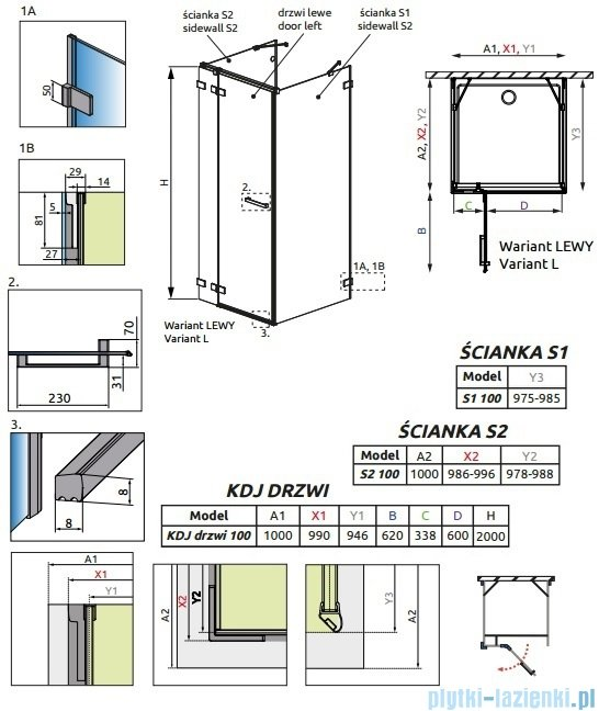 Radaway Euphoria KDJ+S Kabina przyścienna 100x100x100 lewa szkło przejrzyste 383022-01L/383052-01/383032-01