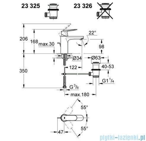 Grohe Eurosmart Cosmopolitan bateria umywalkowa DN 15 23326000