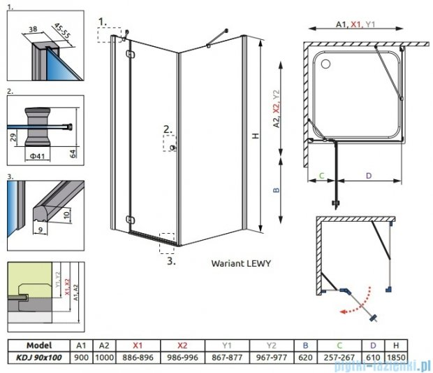 Radaway Torrenta Kdj Kabina prysznicowa 90x100 lewa szkło przejrzyste 32240-01-01NL