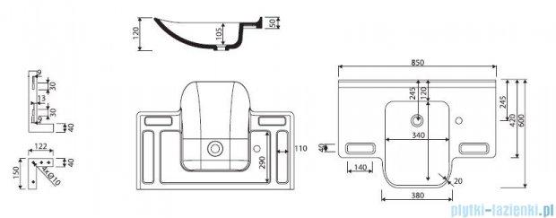 Marmorin Uni Umywalka wisząca z otworem 85cm biała 550085020011
