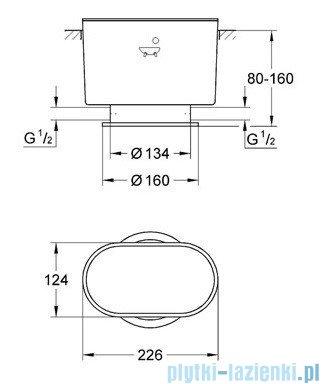 Grohe zestaw montażu surowego do sztorcowej armatury wannowej 45473000