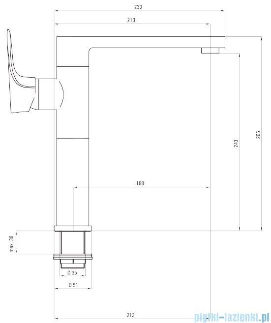 Deante Gardenia bateria zlewozmywakowa stojąca z prostokątną wylewką chrom/biały BEG W630