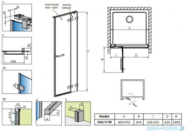 Radaway Arta Dwj II drzwi wnękowe 90cm prawe szkło przejrzyste 386441-03-01R/386011-03-01R