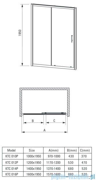 Deante Cynia drzwi wnękowe przesuwne 160x195 cm przejrzyste KTC 016P