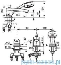 Kludi Mx Bateria wannowo-natryskowa 3-otworowa wylewka 16cm chrom 334460562