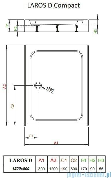 Radaway Brodzik prostokątny Laros D 120x80x17 cm z obudową SLD81217-01