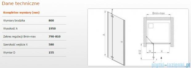 Sanplast drzwi skrzydłowe DJ2/FREE-80 80x195 cm przejrzyste 600-260-0300-42-401