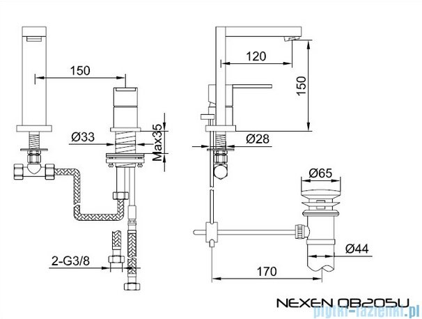 Kohlman Nexen-S 2-otworowa bateria umywalkowa SQB205U