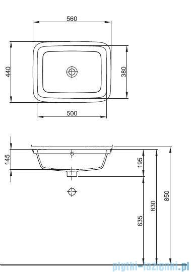Koło Style Umywalka podblatowa 56cm bez otworu z przelewem z przodu L21850000