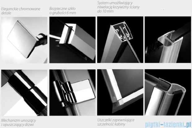 Radaway Kabina prysznicowa Almatea KDJ+S 80x80x80 prawa szkło przejrzyste + Brodzik Delos C + syfon 31532-01-01R