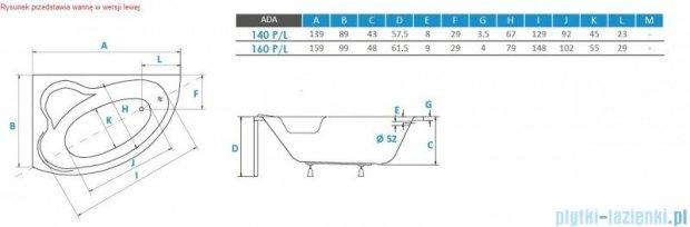 Piramida Ada 160x100cm Wanna asymetryczna Lewa