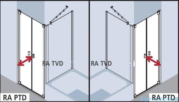 Kermi Raya Drzwi wahadłowe, 2-skrzydłowe, szkło przezroczyste z KermiClean, profile srebrne 100x200 RAPTD10020VPK